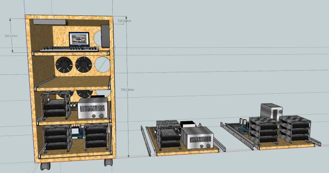 Le meuble complet avec les tiroirs