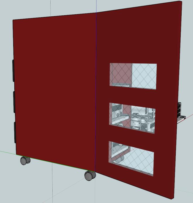 Les aérations sur la porte de  devant, pour l'airflow